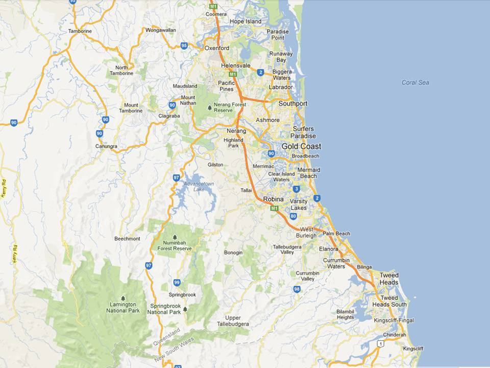 Map Gold Coast